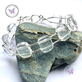 Clear Quartz Faceted Silver Bracelet